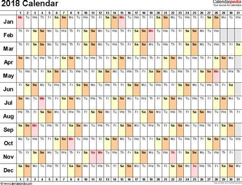 2018 calendar in excel