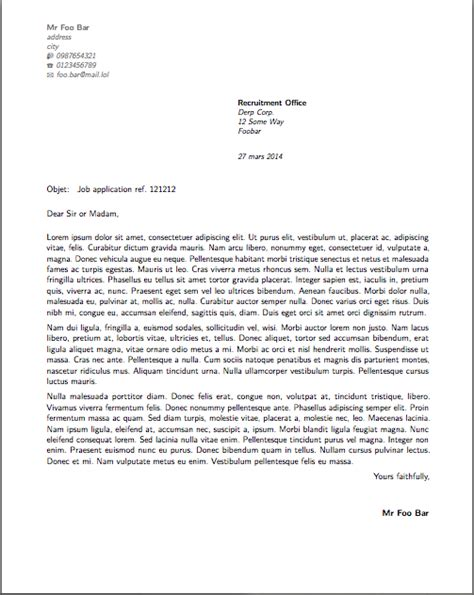 horizontal alignment   French style cover letter using