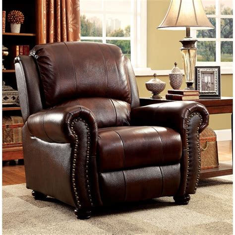 accent chairs to match brown leather sofa furniture of america garry leather accent chair in