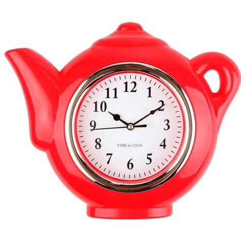 designer kitchen clocks red teapot designer kitchen clock vintage retro rustic