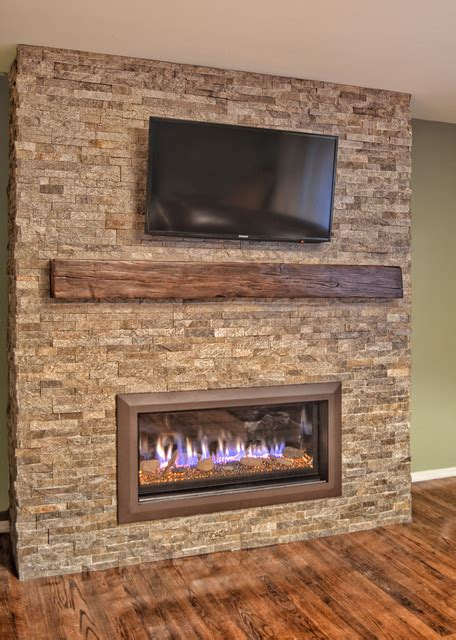 stacked linear fireplace contemporary other