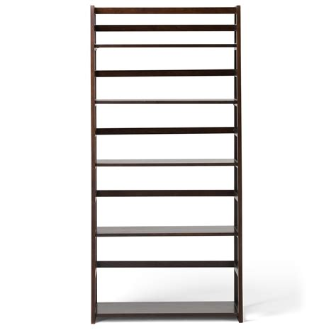 Amazon Com Simpli Home Acadian Solid Wood Ladder Shelf Wood Ladder Bookcase