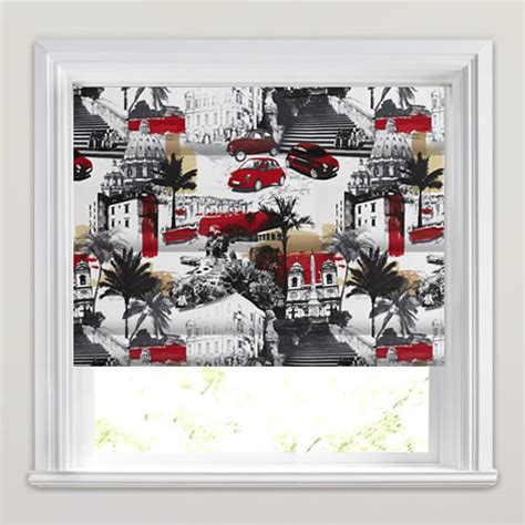 black patterned roman blind black white red italian scenic pop art patterned roman