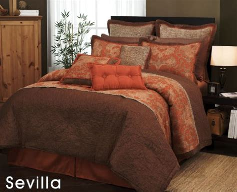 brown and orange comforter 7 pieces traditional orange and brown jacquard floral
