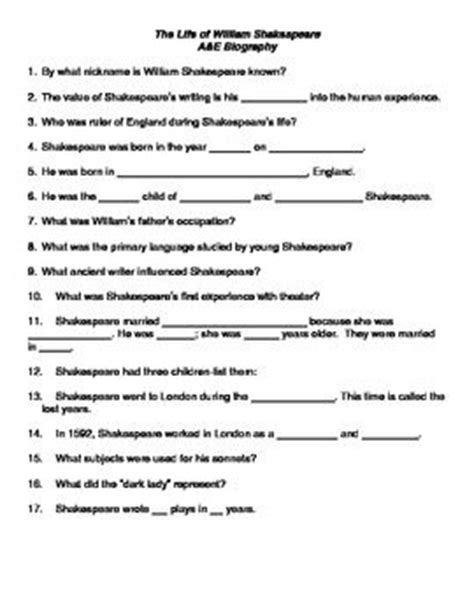 E Bio Worksheet Answers by Need A Handout For The Of Shakespeare A Biography For
