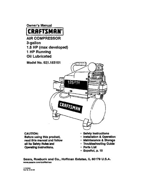 craftsman 921 153101 user manual 11 pages
