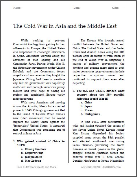 Free History Worksheets For Middle School by The Cold War In Asia And The Middle East Free Printable