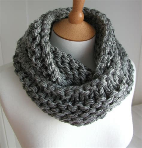 chunky knit infinity scarf scarf chunky circular infinity gray knit cowl