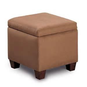 accent microfiber cube ottoman in brown ottomans