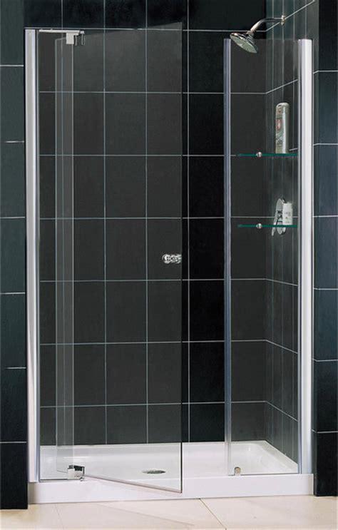 Allure Frameless Pivot Shower Door And Slimline Single Shower Door Threshold
