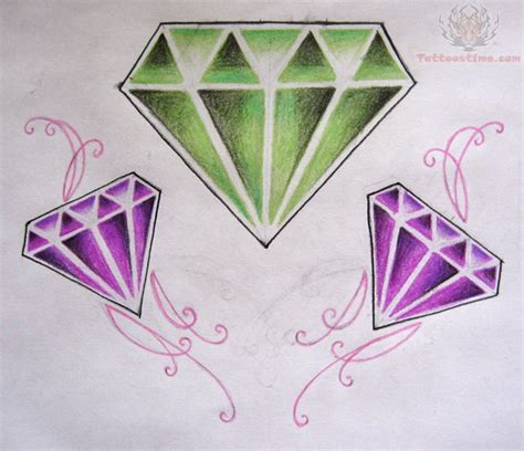 diamond tattoo purple green and purple diamond tattoo
