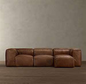 Fulham Leather Sofa Preconfigured Fulham Leather Right Arm Chaise Sectional