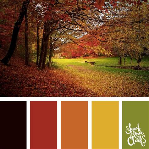 fall color schemes autumn color palette green yellow orange and red color