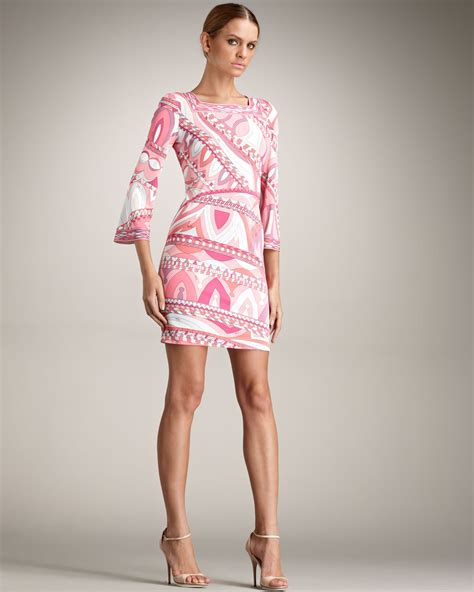 Pucci Your by Lyst Emilio Pucci Square Neck Dress In Pink