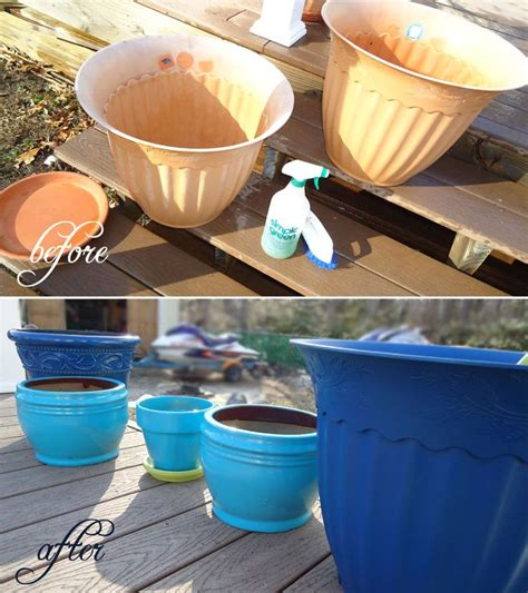acrylic paint on plastic pots blue spray painted plastic flower pots gardening