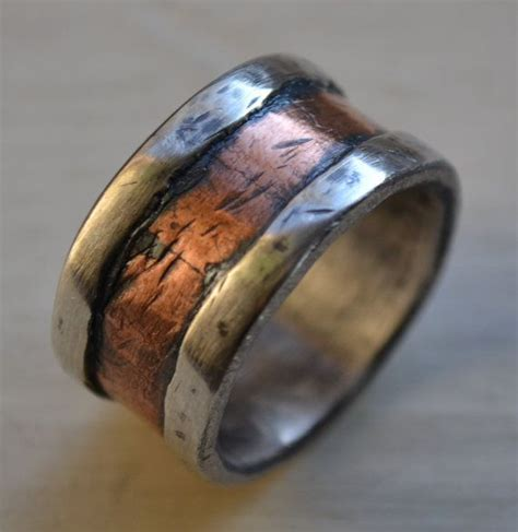 Handmade Band - mens wedding band rustic silver and copper