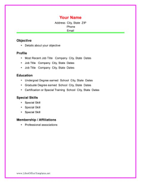colorful chronological resume