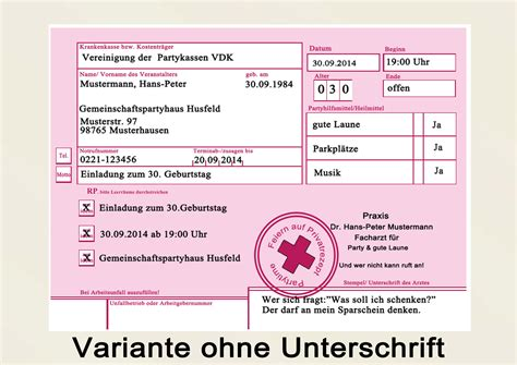 Word Vorlage Rezept Privatrezept Privat Rezept Geburtstag Einladung Einladungskarten Arzt 30 40 50 Ebay