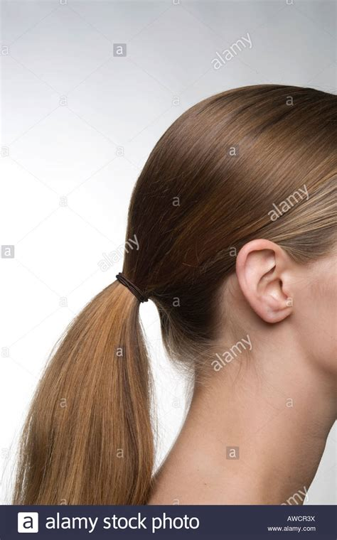 download hair tied up hair tied back in ponytail stock photo royalty free image
