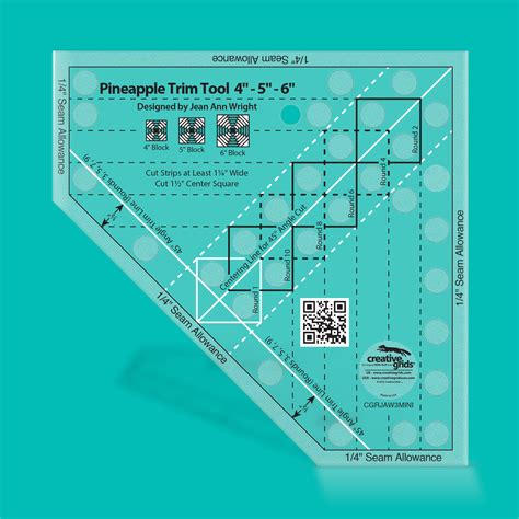 Creative Grids Usa Creative Grids Pineapple Trim Tool Quilting Template Ruler