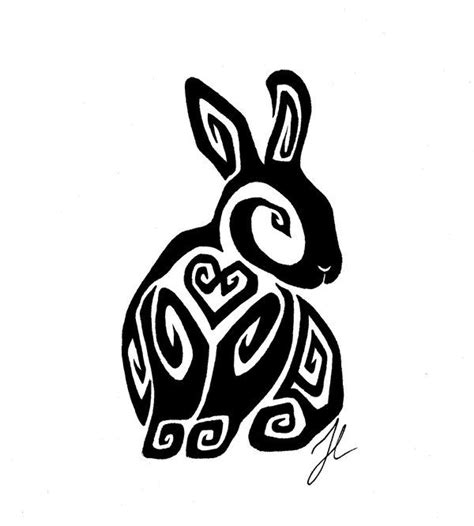rabbit tribal tattoo designs sitting bunny by rienquish deviantart on