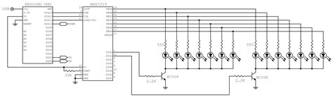 pull up resistor multiplex led multiplexing problem with arduino max7219 e bjt electrical engineering stack exchange