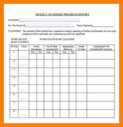 high school progress report template progress report template high school progress report