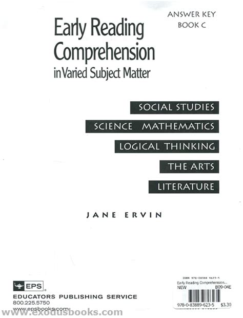Reading Comprehension Review Of Related Literature by Early Reading Comprehension In Varied Subject Matter Book C Answer Key Exodus Books