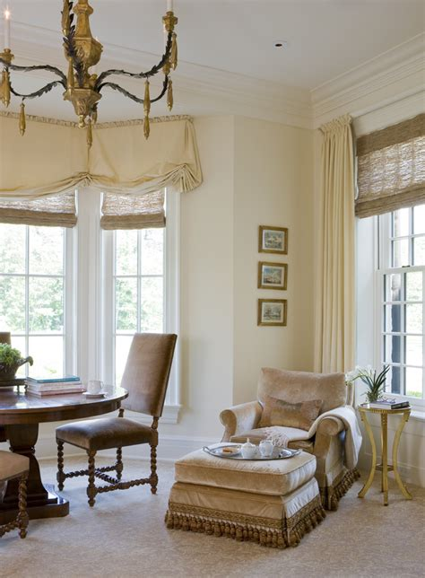 window treatments for bay window in living room fireplace mantel ideas family room traditional with built in storage bookshelves