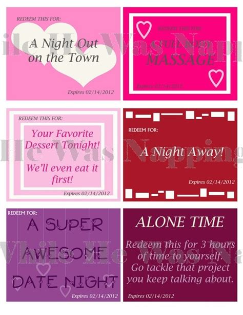 printable love massage coupons 10 best images about valentine coupons on pinterest