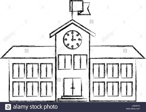 Sketches School by Sketch Blurred Silhouette Image High School Structure With