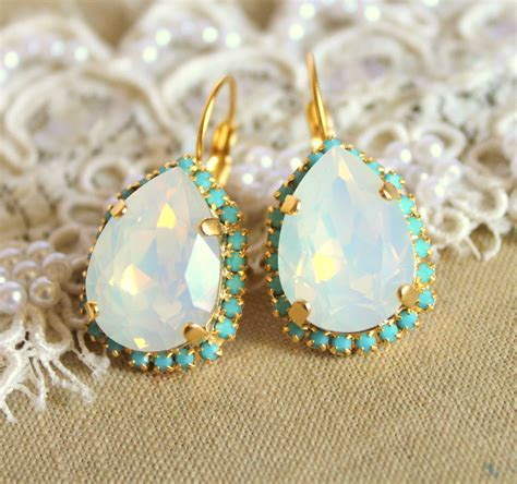 turquoise opal earrings opal turquoise earring 14k plated gold earrings