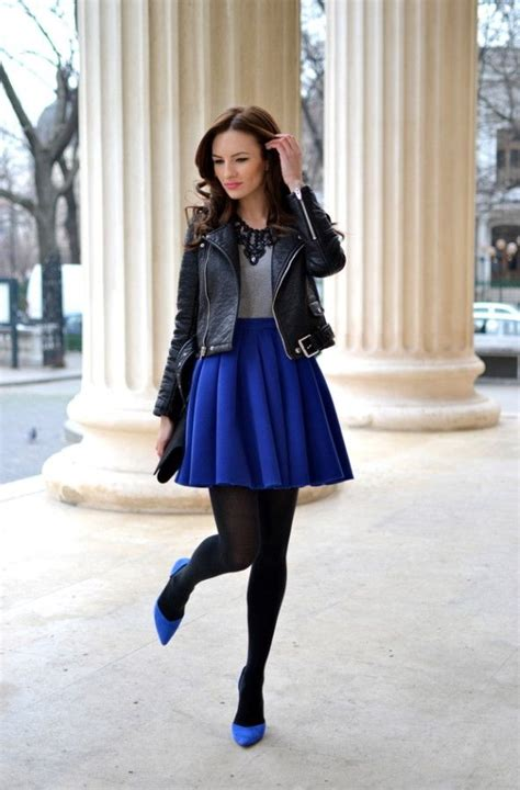 what tops and shoes to wear with blue skirts fashion
