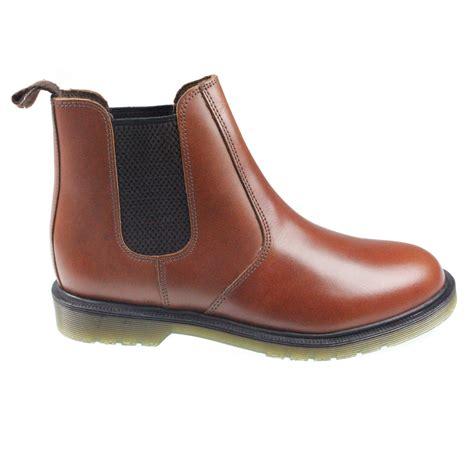 mens slip on chelsea dealer work ankle brown leather smart