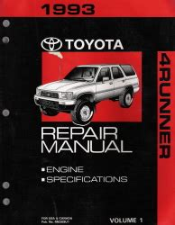 service and repair manuals 1993 toyota 4runner auto manual 1993 toyota 4runner factory service manual 2 vol set