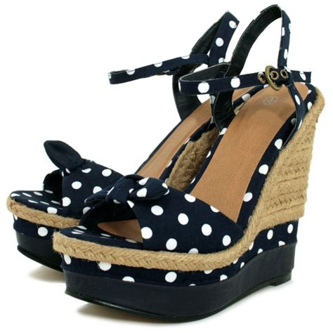 buy raffia wedge polka dot platform bow shoes sandals navy