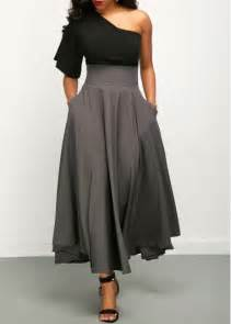 black one shoulder top and high waist skirt liligal com