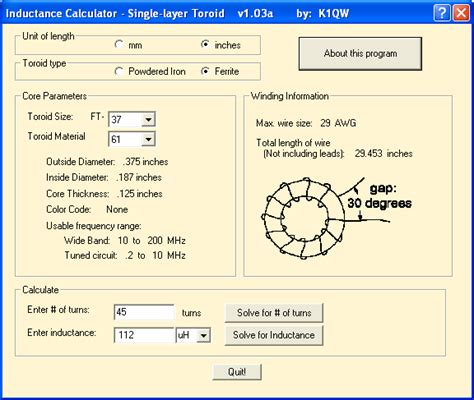 single layer toroid inductance calculator program electronics projects circuits
