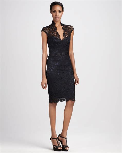 cocktail dresses theia lace cocktail dress in black lyst