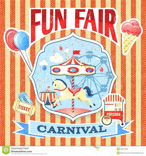 carnival posters template vintage carnival poster template stock vector image