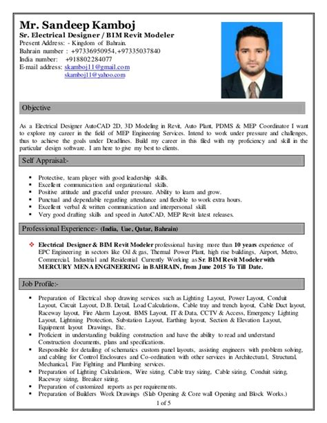 Job Resume With Experience by Sandeep Kamboj Cv Electrical Designer Amp Bim Revit Modeler