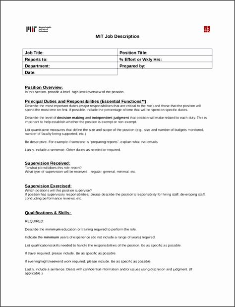 4 Job Description Form Sletemplatess Sletemplatess Free Printable Description Template