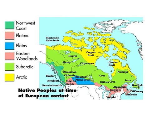 canadian map of indian tribes nations and europeans in new and early canada