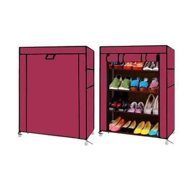 Rak Sepatu Nine Box jual nine box rak sepatu merah muda 5 cover 4 tingkat