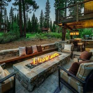 Backyard Firepit Ideas by Outdoor Patio With Rectangular Firepit House Ideas