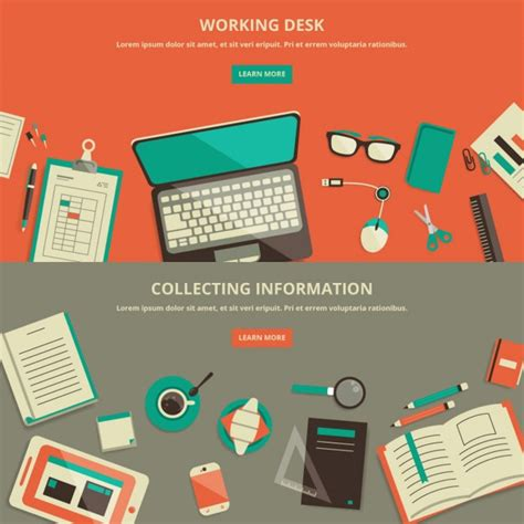 layout work flat design work space banner vector free download