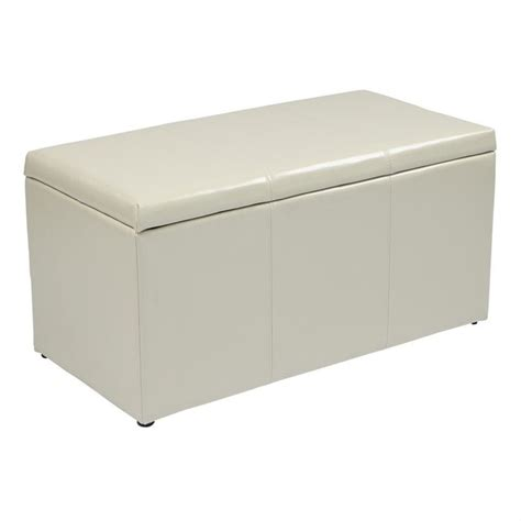 cream leather ottoman 3 piece eco leather ottoman set in cream met71bcm