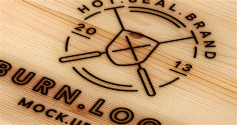 typography on wood wood burning logo mock up template psd mock up templates