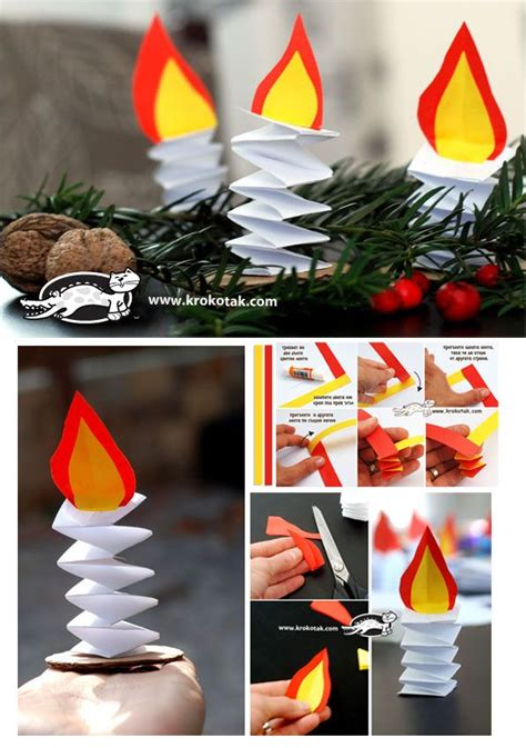 candle craft for paper candles and winter craft for