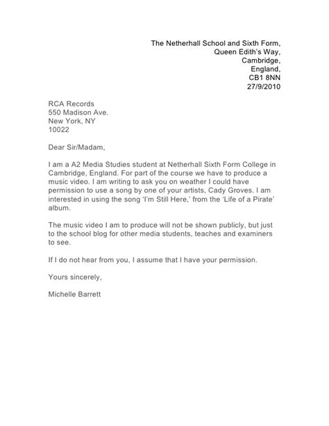Permission Letter For Letter Of Permission